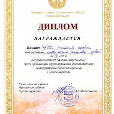 Команда  КГБУЗ «Алтайский краевой клинический центр охраны материнства и детства» награждена дипломом